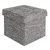 Seville Classics Foldable Storage Ottoman Footrest Toy Box Coffee Table Chest Trunk Seat Stool, 1-Pack, Tweed