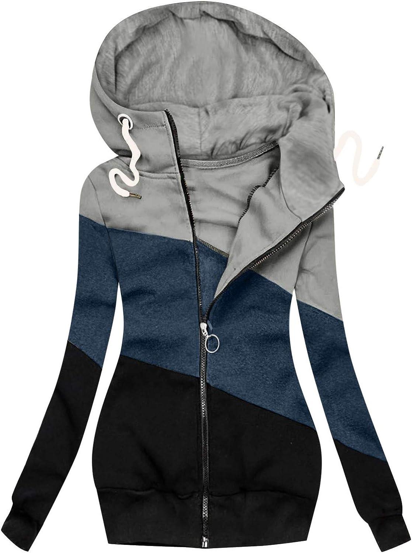 Tupenty Hoodies for Women, Funnel Neck Color Block Zip Up Tunic Sweatshirts Jackets Coat Plus Size Long Hoodie Dress