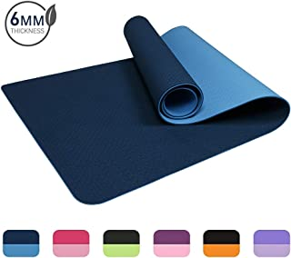 "Vegou Eco Friendly TPE Yoga Mat Non-Slip Workout Mat for Yoga, Pilates and Exercises Extra Wide 72""x 24"" Thickness 6mm 1/4 Inch with Carrying Strap"