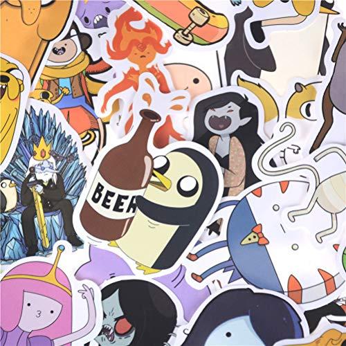 PMSMT 30 Stück Cartoon Fahrrad Motorrad Notebook Laptop Spielzeug Aufkleber PVC Adventure Time Wasserdichter Aufkleber für Gepäckwand Auto Laptop