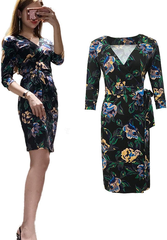 XC DVF Women Summer Causal Vintage Floral Print Wrap Dress dvf Midi Dress with Belt