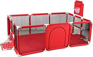Baby Playpen Ball Pit Tent Kid s Fence Activity Center with Basketball Hoop  Indoor Outdoor Playard for Infant and Baby  Red  192cmX128cmX66cm