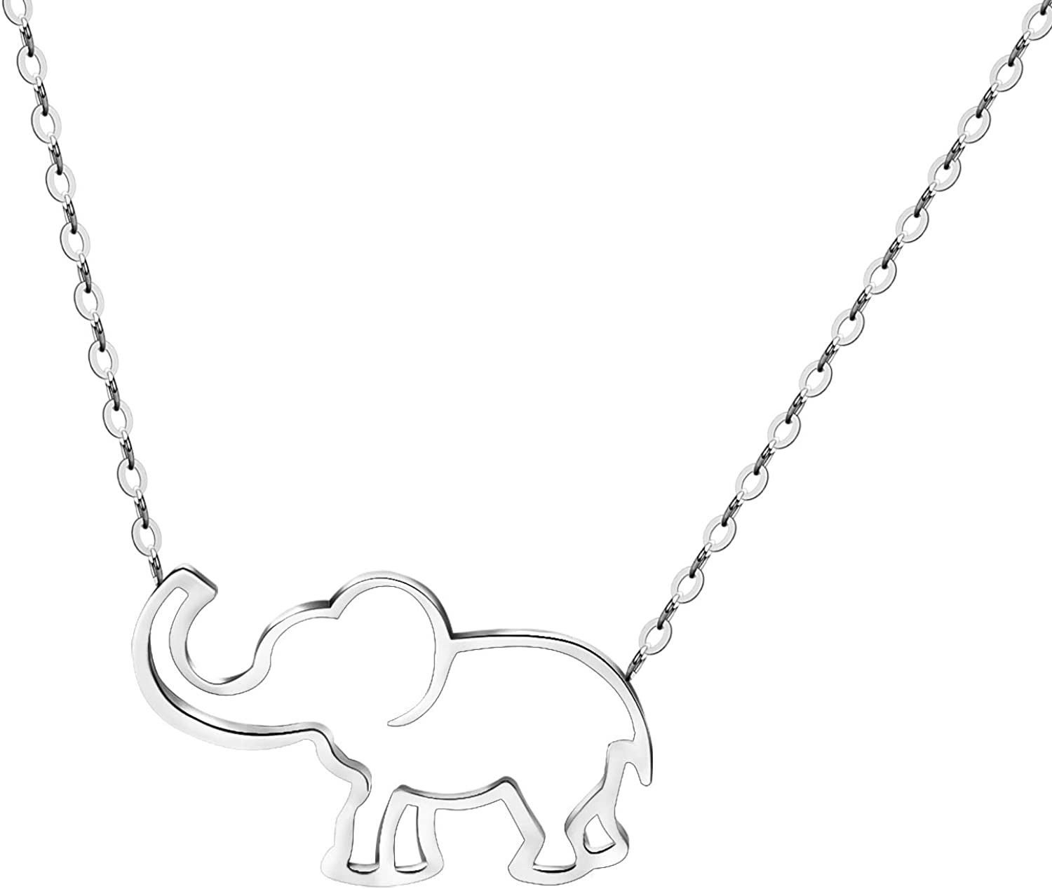 Good Luck Elephant Jewelry Necklace Charm Pendant Necklaces for Women and Teen Girls Birthday Gifts ,Mother's Gift VAttract Adjustable 16 Inch