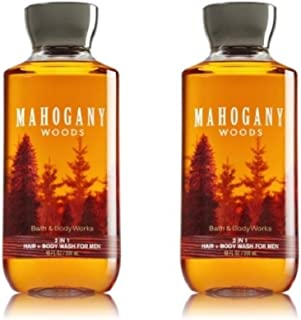 Bath & Body Works Mahogany Woods For Men 2-in-1 Hair and Body Wash (2 Pack)