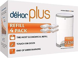 Dekor Plus Diaper Pail Refills | 4 Count | Most Economical Refill System | Quick & Easy to Replace | No Preset Bag Size – ...
