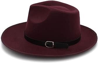 KKONION Men Autumn Felt Fedora Hat with Wide Brim Jazz Hat R Gentleman Dad Sombrero Godfather Panama Hat Punk Belt