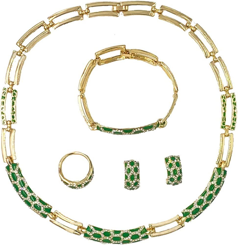 Gold Necklace for Women Fashion Costume Crystal Jewelry Set Gold Plated Jewellery Weddings Dubai Gold Choker Necklaces Earrings Set for Ladies