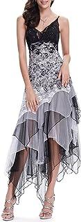 comprar comparacion Ever-Pretty Vestido de Fiesta Noche Asimétrico en Encaje Volantes Escote Mujer 6212B
