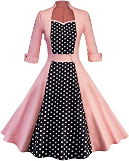 bee49c4a396ca7 Women Vintage Dress Sexy Long Sleeve Stand Collar Retro Hepburn Wind Dot  Fashion Cute Elegant Party