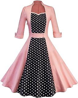07d7599533 Women Vintage Dress Sexy Long Sleeve Stand Collar Retro Hepburn Wind Dot  Fashion Cute Elegant Party