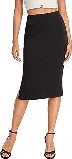 MAKEMECHIC Falda de lápiz elástica por Debajo de la Rodilla para Mujer, Negro 3, S