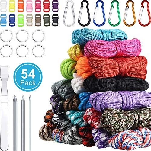 WILLBOND 24 Colors 10 Feet Paracord Cord 550 Multifunction Paracord Ropes Tent Rope Paracord Combo Crafting Kits with Buckles for Making Lanyards Keychain Dog Collar