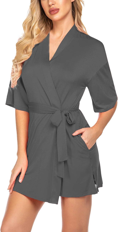 ADOME Women Short Robes Lightweight Spa Bathrobe Soft Knit Kimono Robe with Pockets