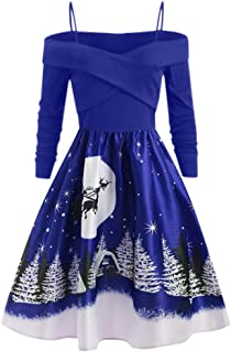 Women Casual Christmas Day Long Sleeve Print Dress Fashion Plus Size Party Loose Dress