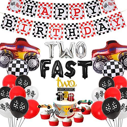 Cars 2nd decoraciones de fiesta de cumpleaños dos coches de carreras rápidos suministros de fiesta de cumpleaños globos de camión monstruo feliz cumpleaños banner torta