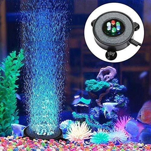 Aquarium Luchtblaas licht-visreservoir-luchtsluier, blaas stenen schijf met 6 kleurwisselende modi, viscontainer gemakkelijk te installeren EU-stekker.