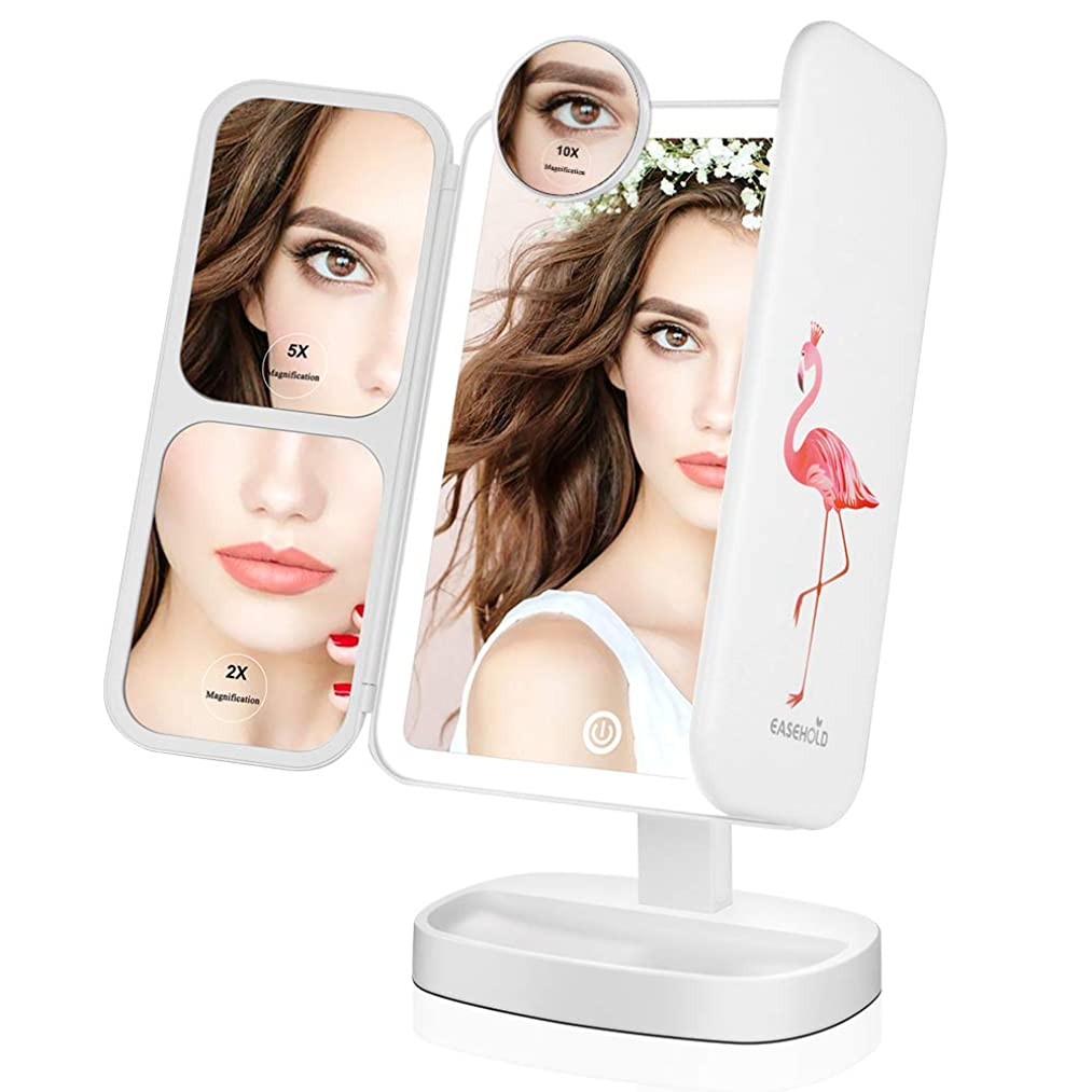 アナニバー社交的付き添い人Easehold 化粧鏡 三面鏡 化粧ミラー 卓上ミラー 鏡 led付き 折りたたみ 2&5&10倍拡大鏡付き 明るさ調節可能 180°回転 プレゼント(ホワイト-フラミンゴ)