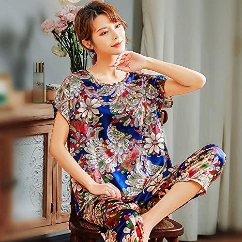 Cxypeng Mujer Pjs Top Ropa de Dormir Lady,Pijama de Mediana Edad de Manga Corta de Seda Hielo, Siete Pantalones Madre-XXXL_112 Azul,Pijamas Traje De Invierno Franela