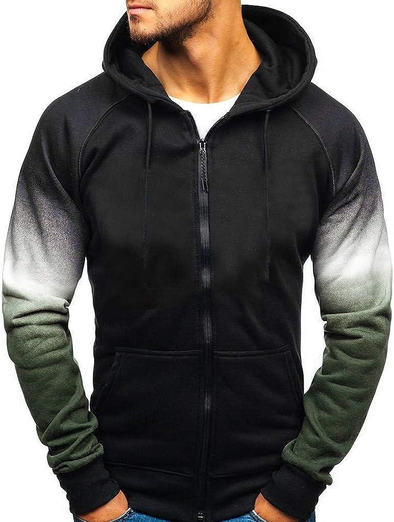 Mens Tie Dye Pullover Hoodie, F_Gotal Mens Casual Long Sleeve Gradient Color Zipper Sports Outwear Hooded Sweatshirts