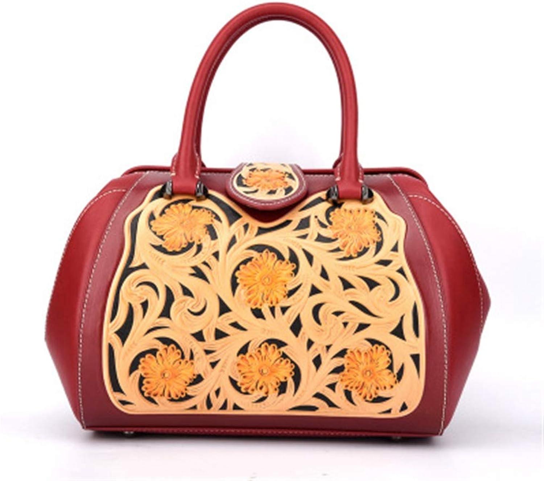 Ethnic Embossed Flower Retro Design Durable Top Layer Cowhide Portable Satchel Women Bag