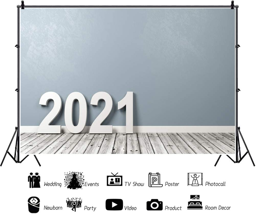 DaShan 14x10ft 2021 Happy New Year Backdrop Rustic Christmas 2021 New Year Eve Party 2021 Grad Graduation Photography Background House Interior Winter Party Xmas Christmas YouTube Photo Prop