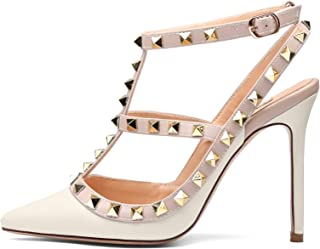 b3497b2a125806 Chris-T Women Pointed Toe High Heels Studded Strappy Slingback Stilettos  Leather Sandals Pumps 4