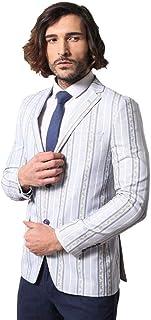 Wessi - Men's Blazers Casual Blazer - All - Stripped Blue Slim Fit Blazer - Lacivert - 46