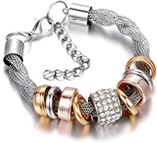 Entwined Silver Metal & Bangles Handmade Crystal Bracelets For Women With Rhinestone Stones Ethnic Jewelry B151