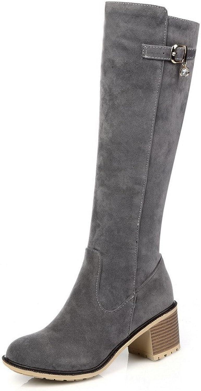 WeenFashion Women's Zipper Kitten-Heels Imitated Suede Solid Mid-Top Boots