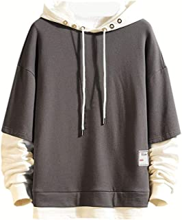 Howely Men's Pullover Athletic Outwear Color Block Long-Sleeve Hooded Sweatshirt