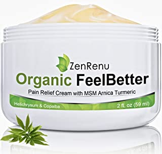 Organic Pain Relief Cream by ZenRenu - MSM Turmeric Arnica, Helichrysum | Made in USA - Muscles, Joints, Back, Neck & Skin...
