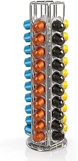 BluePeak Nespresso Coffee Capsule Rack Holder Carousel - Holds 50 Capsules OriginalLine. Elegant and Modern Chrome Finish. 360-degree Rotation. For Citiz, Pixie & Latissima Machines