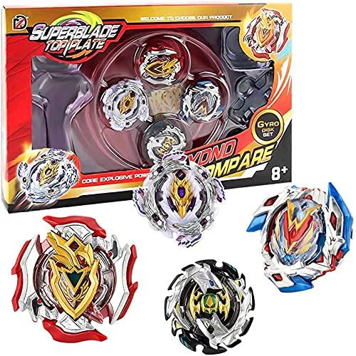 Kampfkreisel Set, 4 Stück Gyro Burst Starter Set 4D Fusion Modell Metall Masters Speed Kreisel für Kinder Spielzeug mit Arena für Kindertag, Ostern, Weihnachten, Geburtstag (4 Stück)