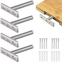 4 stuks zwevende plankhouders, onzichtbare plankondersteuning, schuine plankdragers, 5 inch heavy duty metalen wandplank, ...