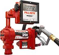 Fill-Rite FR4211G 12V 20 GPM Fuel Transfer Pump with Discharge Hose, Manual Nozzle, Suction Pipe, Mechanical Gallon Meter