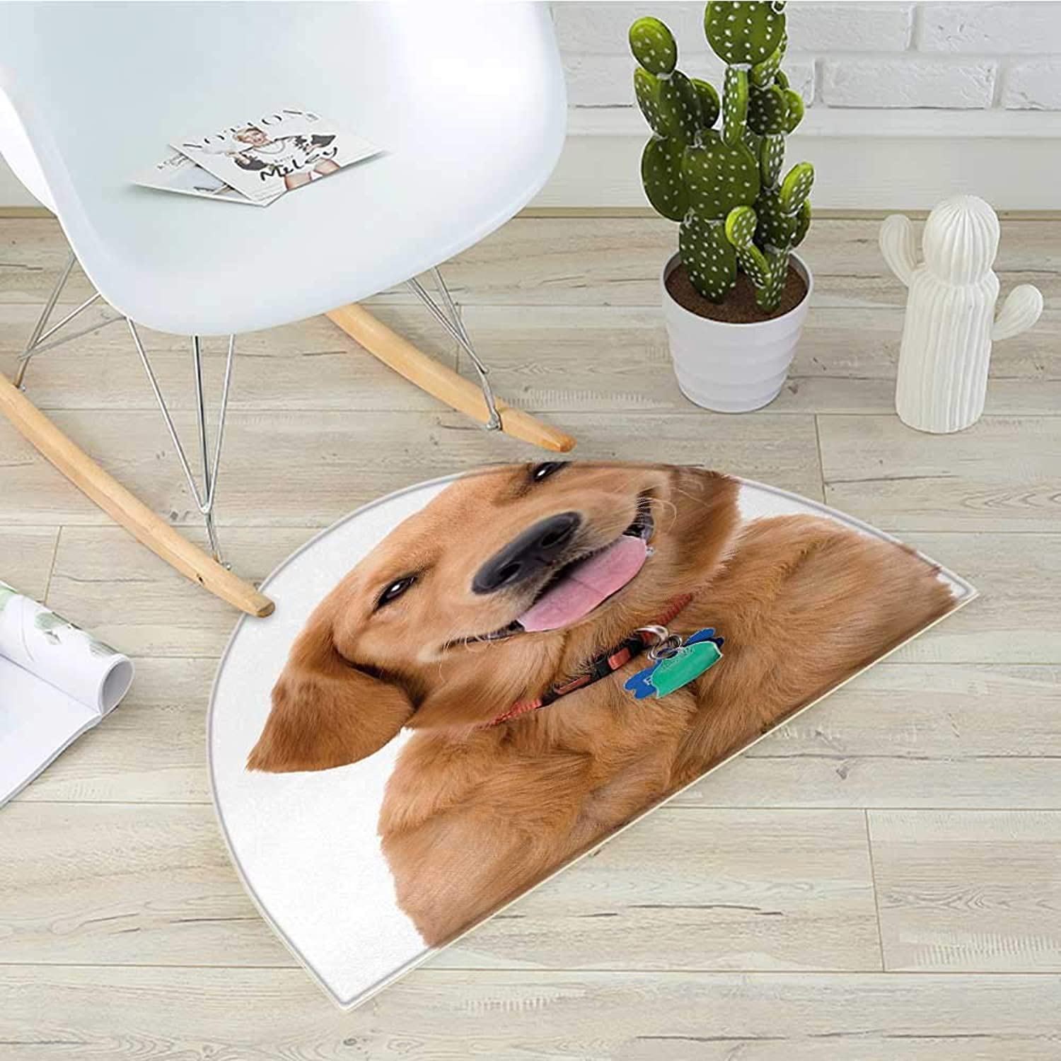 golden Retriever Half Round Door mats Portrait of Young Pedigreed Dog Wearing a Collar and Tags Domestic Animal Bathroom Mat H 27.5  xD 41.3  Multicolor