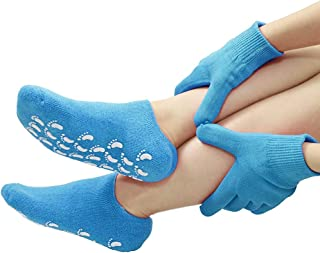Gel Moisturizing Spa Gloves and Socks for Dry Cracked Feet Heels Hands Skin Repair treatment for Foot Care Booties and Hee...