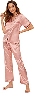 Shein Women's Short Sleeve Button Down Top and Pants Satin Sleepwear Pj Sets