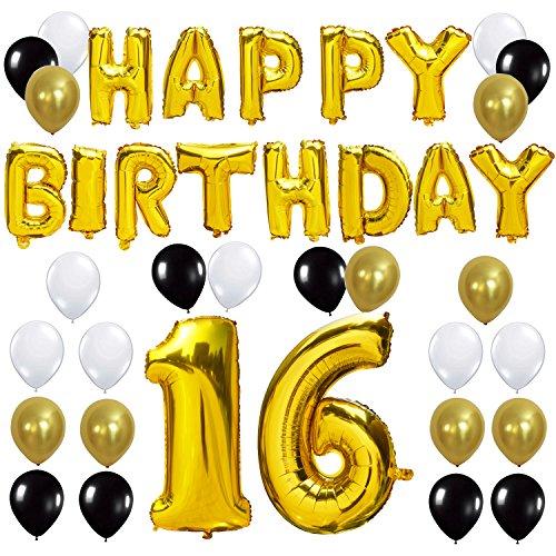 KUNGYO Letras Tipo Balón Doradas Happy Birthday+Número 16 Mylar Foil Globo+24 Piezas Negro Oro Blanco Globo de Látex 16 Años de Antigüedad Fiesta de Cumpleaños Decoraciones