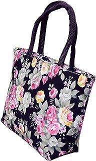 ZHOUBA Damen-Einkaufstasche aus Segeltuch mit großem Fassungsvermögen, mit Rosen-Motiv, mit Reißverschluss, Schwarz Schwarz - DG145025RJRGN5527