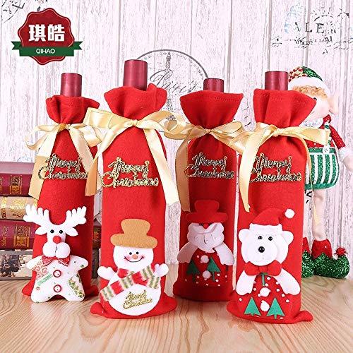 Udol Festliche Stimmung Weihnachten Pull Flanelljacke Weinflasche Taschen Weihnachtstisch Weinsets alte Weihnachtsartikel j0929 (Color : Four-Piece Set, Size : 12 * 34CM)