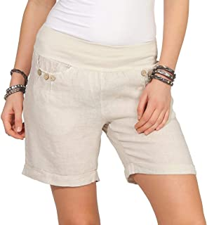 a1d6ee1f66eb76 Mississhop Damen Leinenshorts Bermuda lockere Kurze Hose Freizeithose 100%  Leinen Shorts Elegante Haremshose mit Knöpfen Sommer Strand