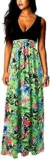アイキーパー(Eyekepper) ロング ドレス マキシ式 ノースリーブ 深vネック ハイウエスト 花柄 ワンピース 夏 海 ビーチ パーティー 二次会 レディース