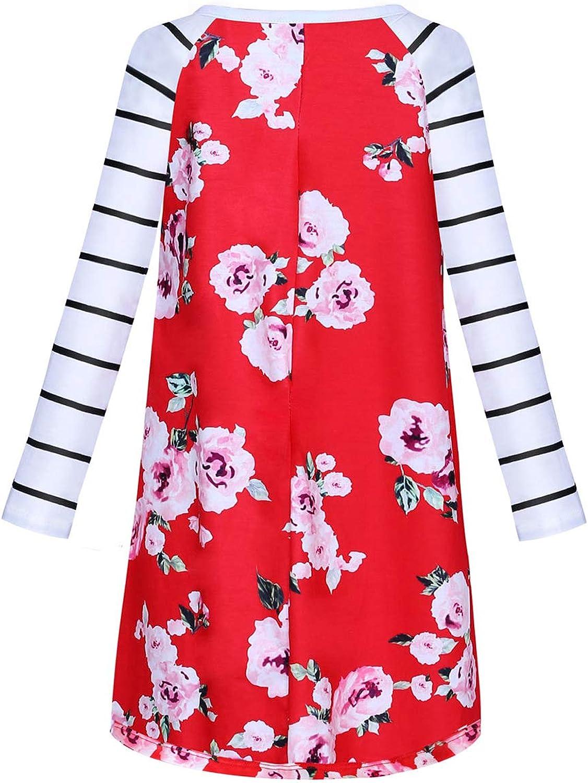 GOSOPIN Girls Long Sleeve Floral Pleated Swing Casual Maxi Dress Pocket 4-13Y