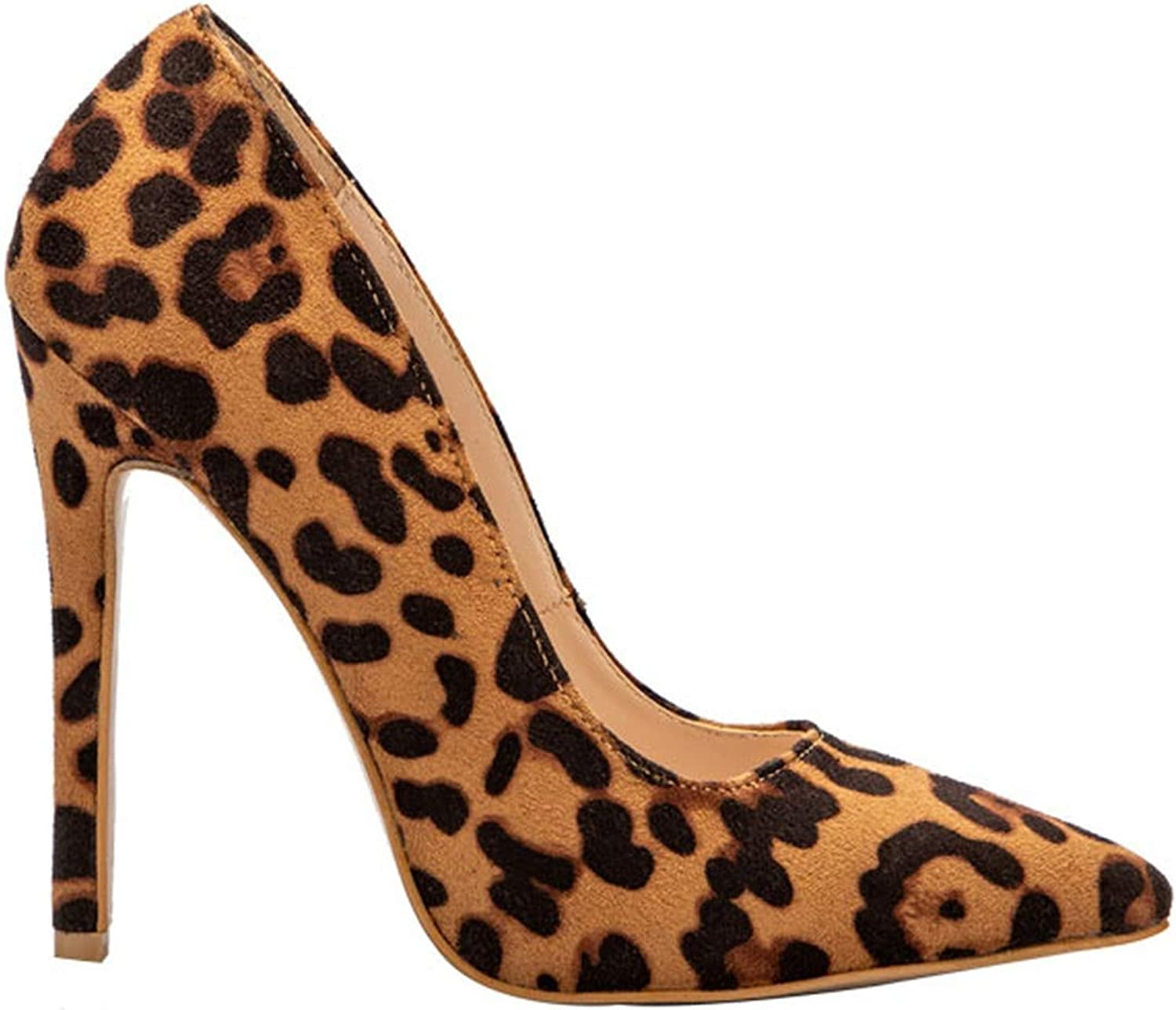 Woman High Heels Pumps Thin Heels shoes Flock Office Slip-On Shallow Solid Pointed Heel Pump Leopard,7.5