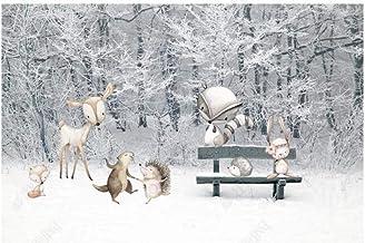 Papel Pintado Pared Papel Pared Dibujos Animados Bosque Mundo Animal Invierno Nieve Escena Habitación Infantil Papel Pinta...