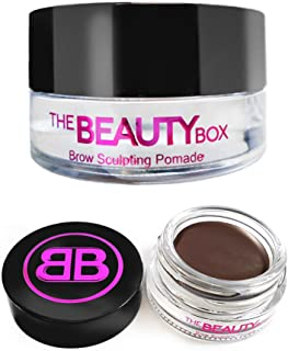 The Beauty Box Brow Sculpting Pomade, Smudge-Free, Waterproof Eyebrow Pomade, Fill and Texturize, 7 shades, 4g (Dark Brown)