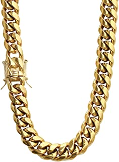 PY Bling Mens Heavy Miami Cuban Link Chain Choker 14k Gold Plated Hip Hop Thick Stainless Steel 8mm-16mm Necklace/Bracelet