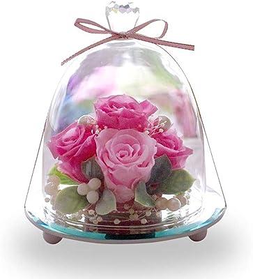 プリザーブドフラワー IPFA ガラスドーム エレガンス プレミアム [バラ プレゼント] 花/ギフト/結婚記念日/誕生日 (ピンク×ピンク)
