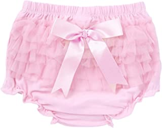 Oyolan Infant Baby Girls Cotton Tulle Ruffled Diaper Covers Bloomer with Big Bow Summer Shorts Underwear